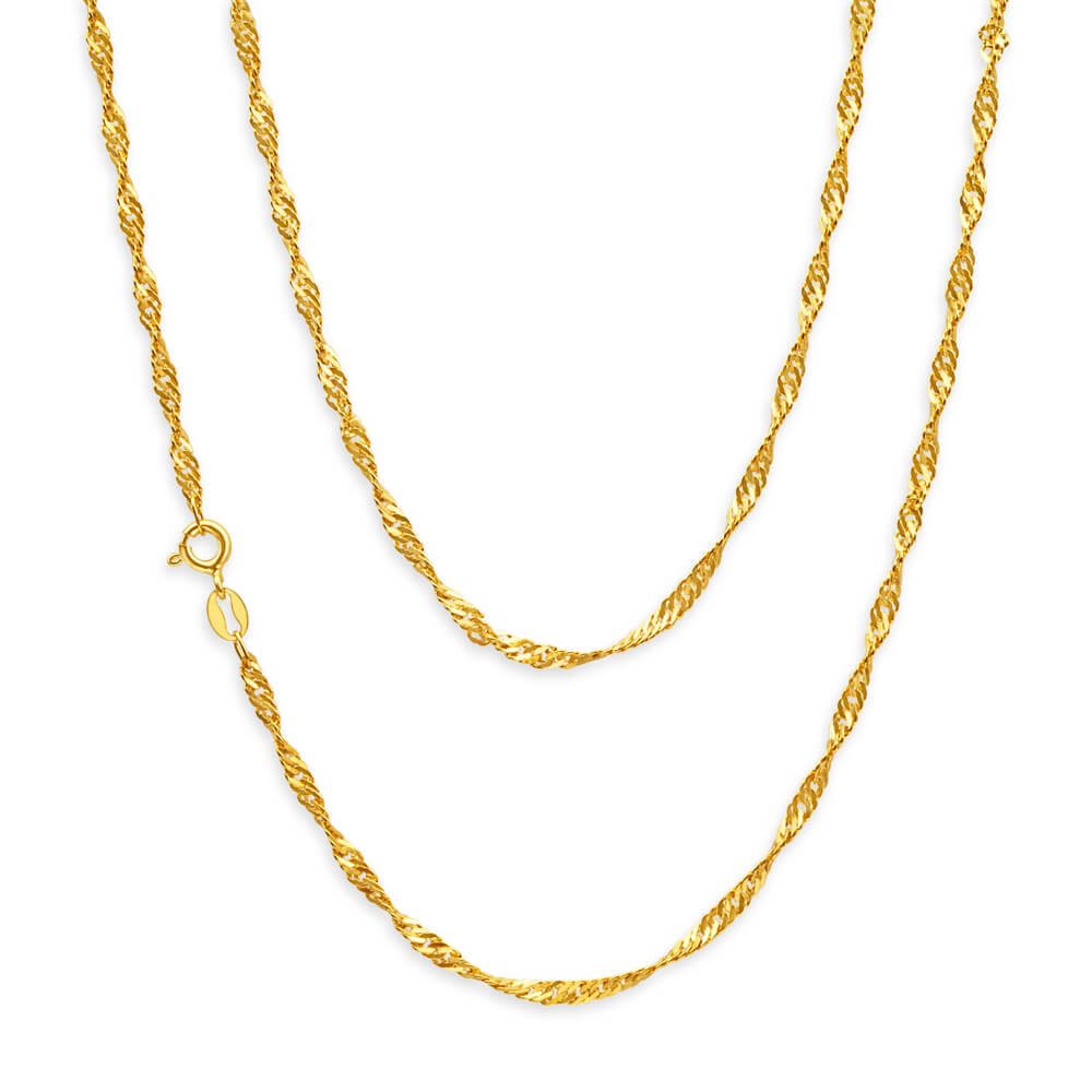 9ct Yellow Gold Singapore Twist Chain - 40 Gauge