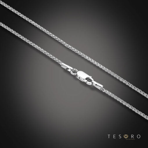 9ct White Gold Gold 1mm Diamond Cut Wheat Chain