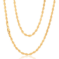 9ct Yellow Gold Singapore Twist Chain - 50 Gauge