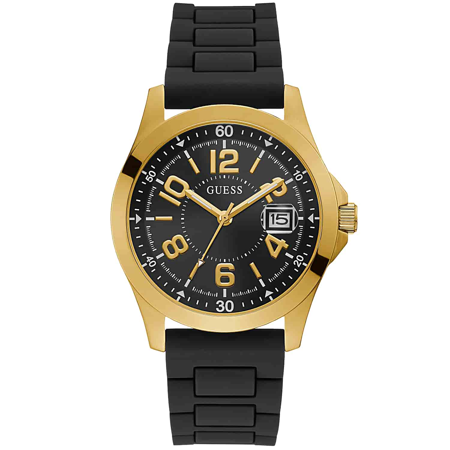 GUESS GOLD TONE CASE BLACK SILICONE WATCH GW0058G2