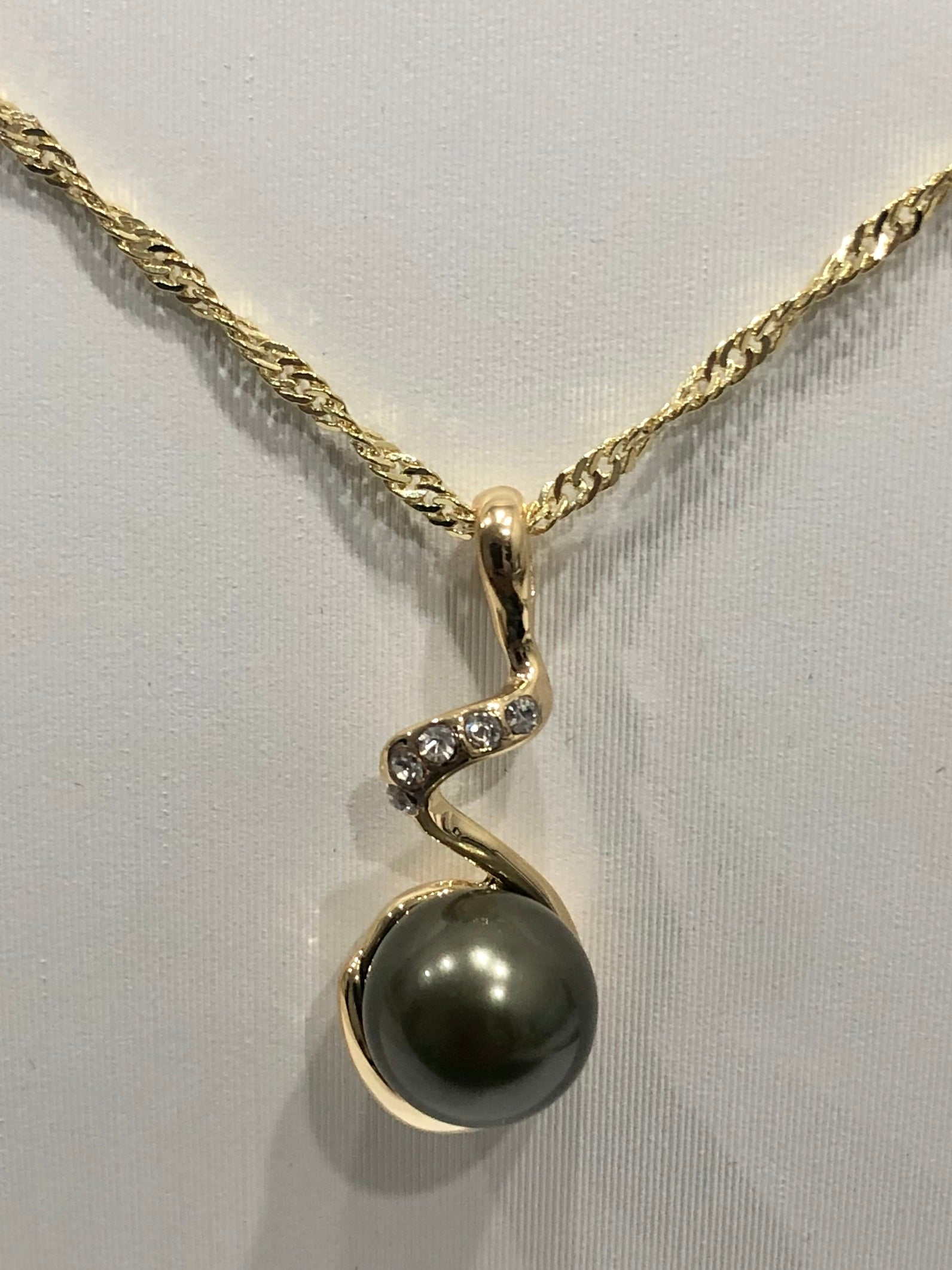 18ct Gold Plated Faux Pearl Pendant - 03