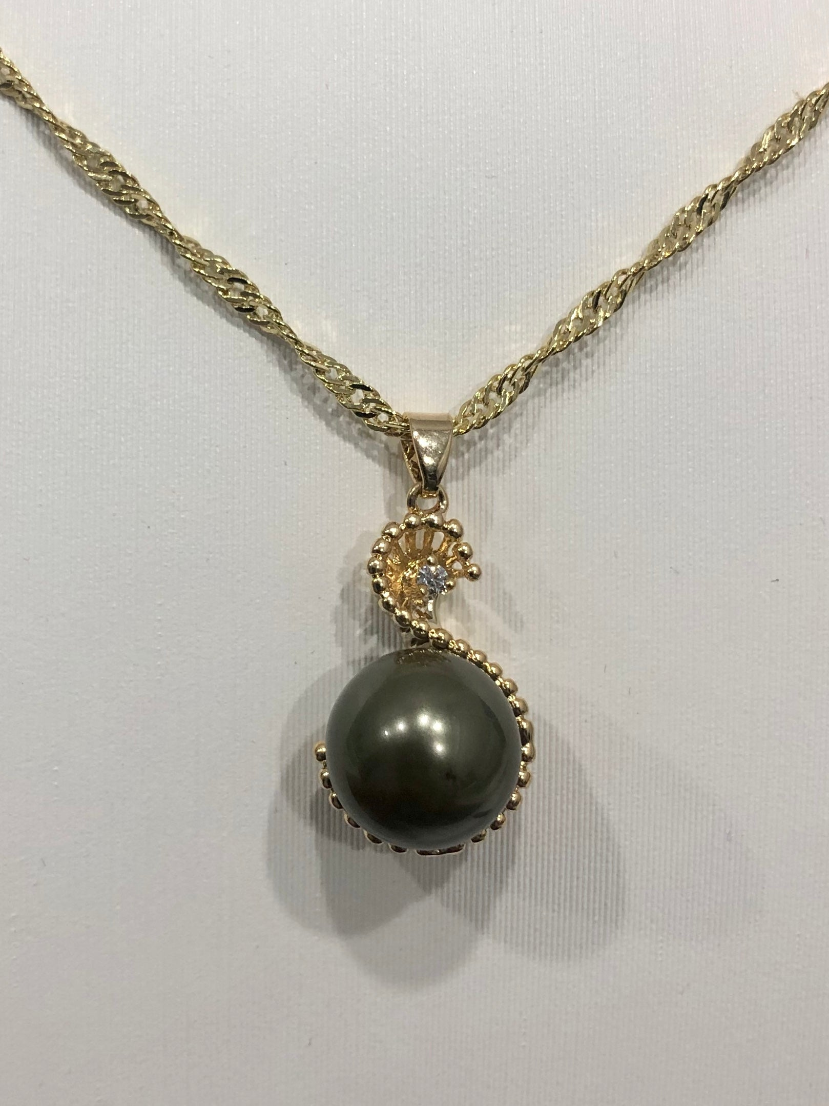 18ct Gold Plated Faux Pearl Pendant - 06