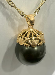 18ct Gold Plated Faux Pearl Pendant - 09