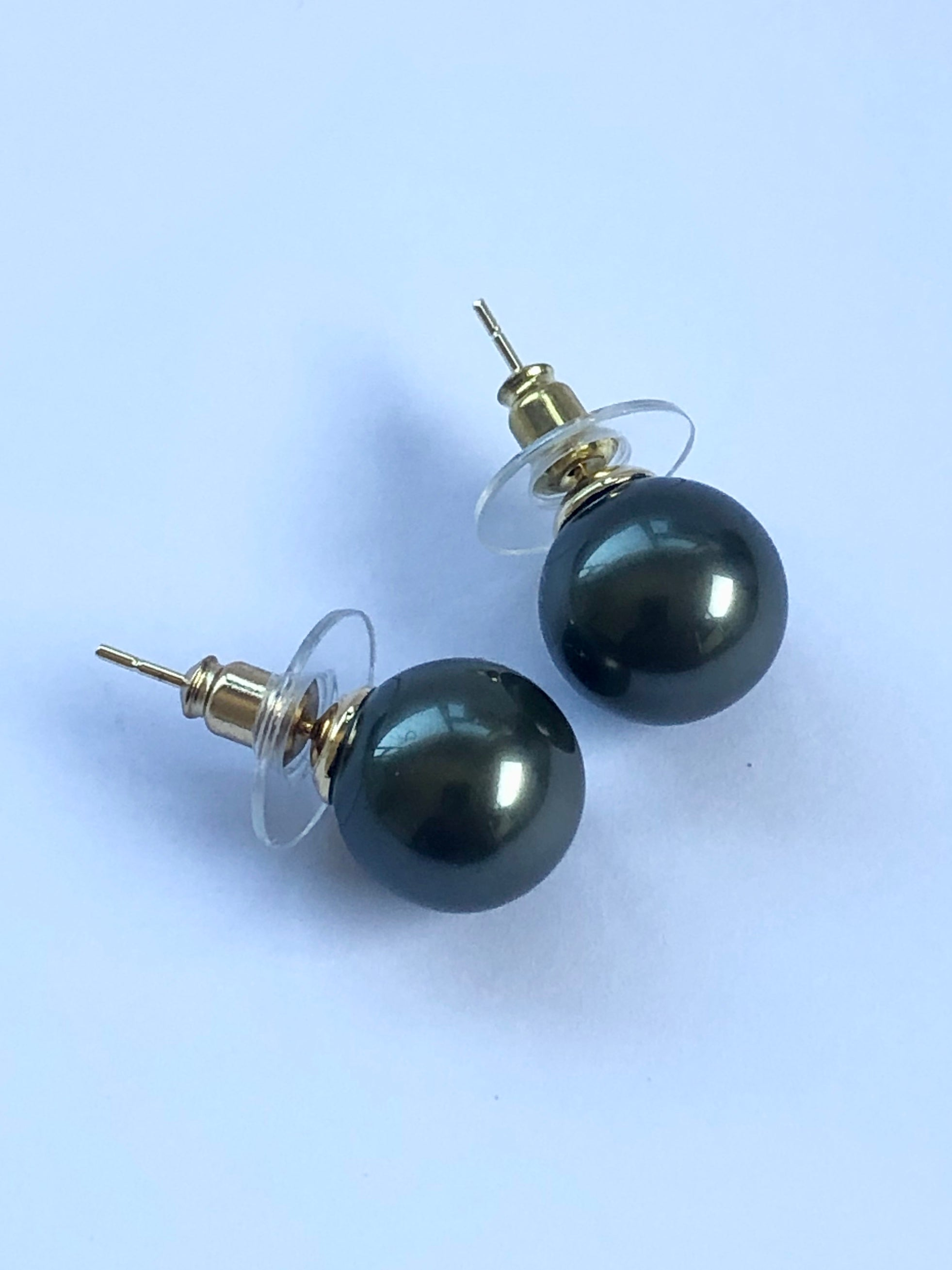 18ct Gold Plated Faux Pearl Stud Earrings 12mm - 02