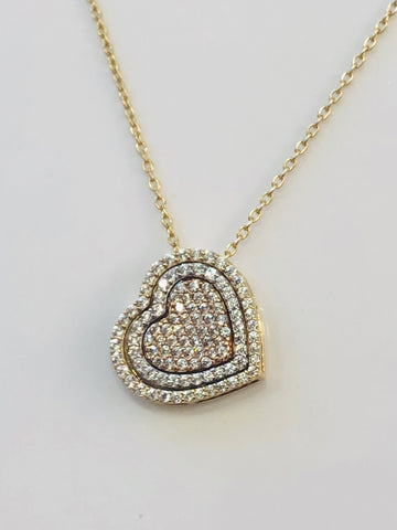 9ct Gold Chain With White, Yellow & Rose Gold Double Sided Heart Pendant.