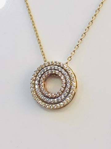 9ct Gold Chain With White, Yellow & Rose Gold Pendant With Cubic Zirconia Setting