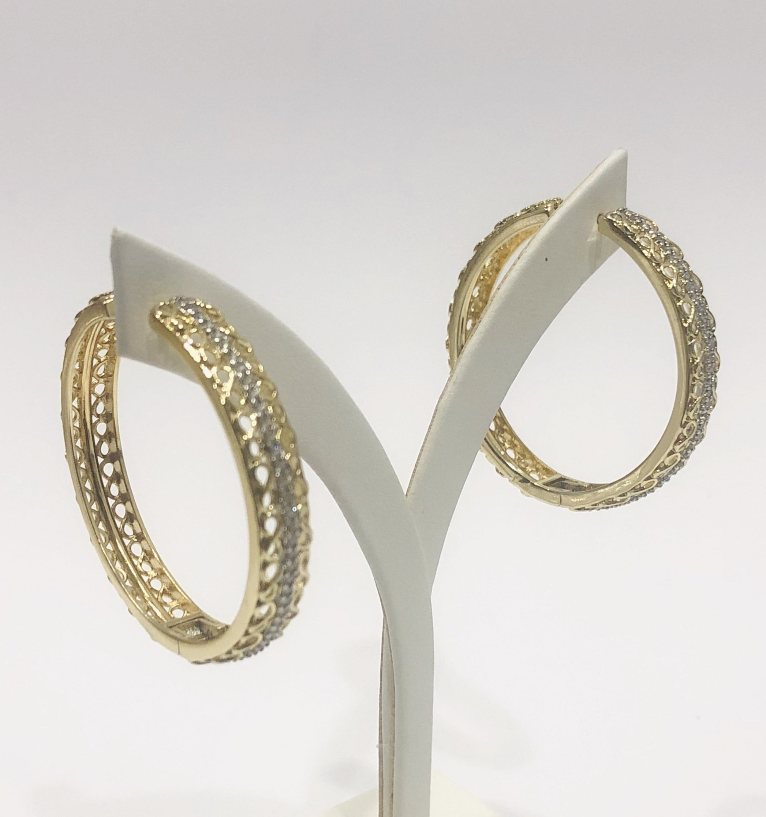 18ct Gold Plated Large Fashion Hoop Earrings - 01