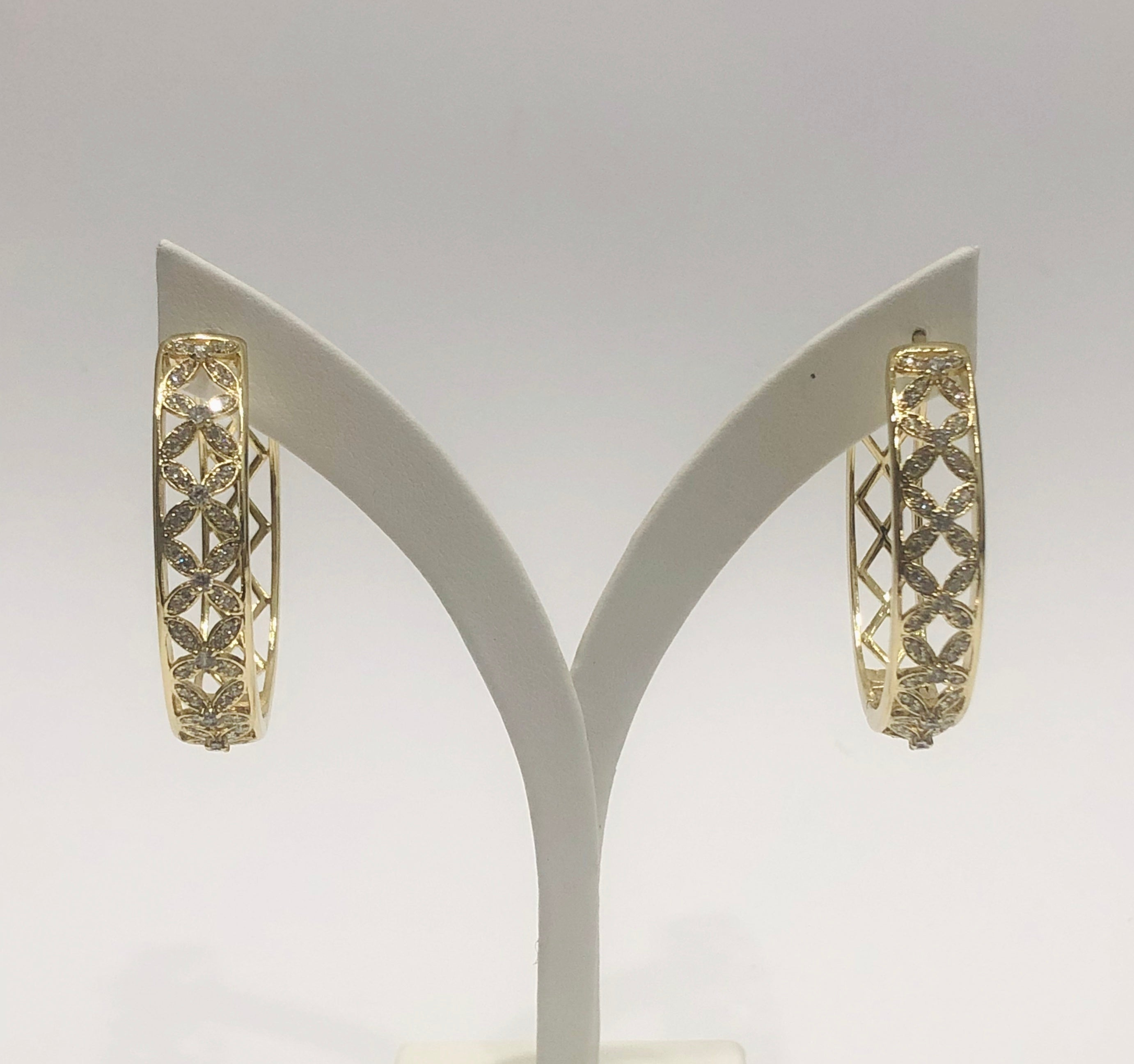 18ct Gold Plated Large Fashion Hoop Earrings - 04