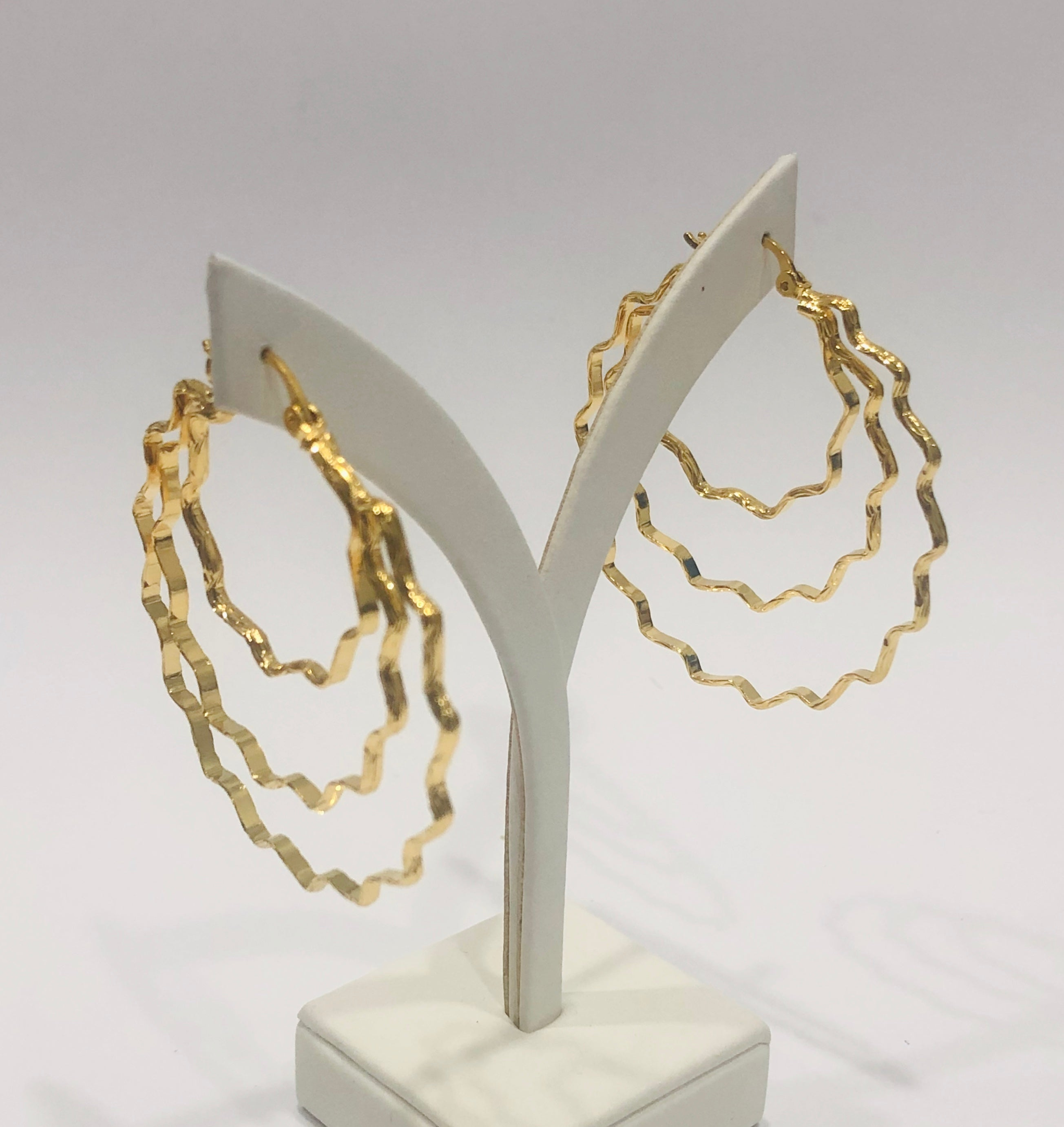 18ct Gold Plated Large Fashion Hoop Earrings - 05