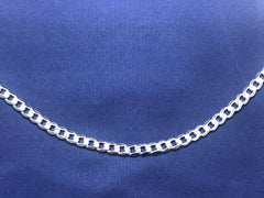 Sterling Silver FBSCD180 Flat Bevelled Diamond Cut Curb Link Chain