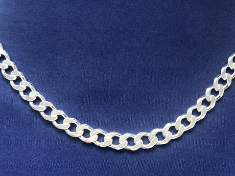 Sterling Silver FBSCD220 Flat Bevelled Diamond Cut Curb Link Chain