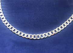 Sterling Silver FBSCD250 Flat Bevelled Diamond Cut Curb Link Chain