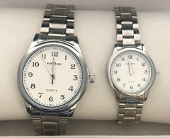 His & Hers Stainless Steel Dress Watch Set - 01