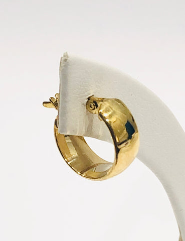 9ct Yellow Gold Silver Filled Polished Huggies 13mm Hoop Earrings