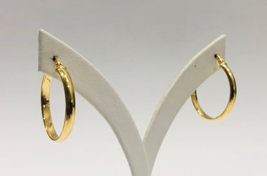 9ct Yellow Gold Silver Filled 1/2 Round 23mm Hoop Earrings