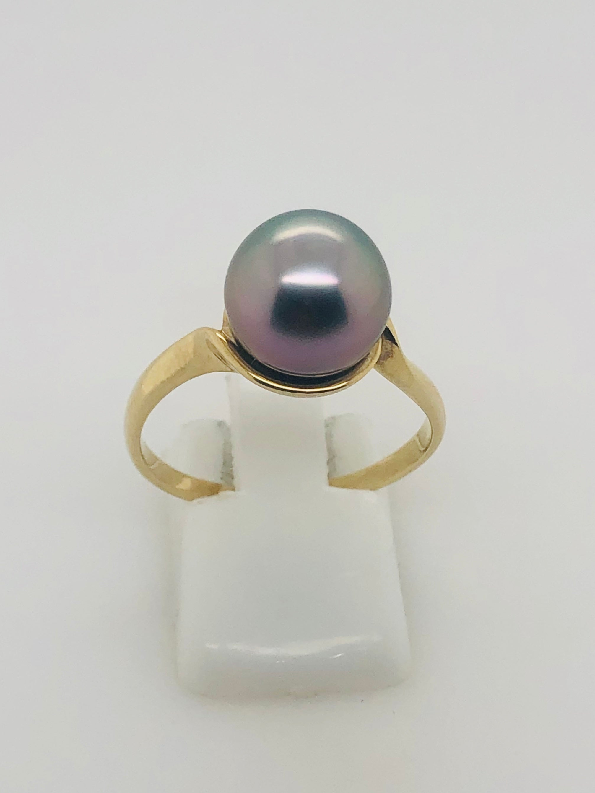 9ct Gold Tahitian Black Pearl Ring - 15
