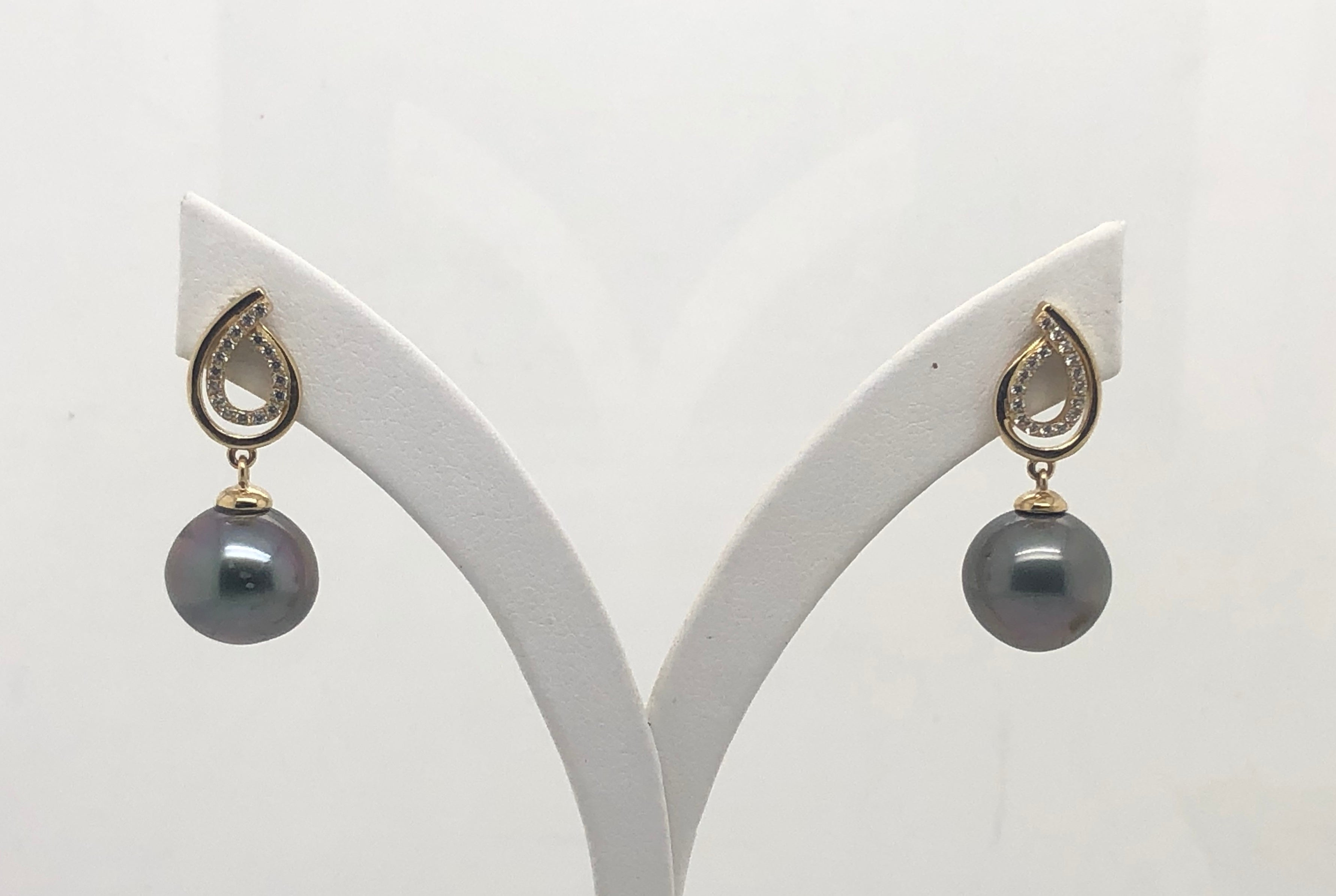 9ct Gold Drop Earrings With Black Tahitian Pearl -  11