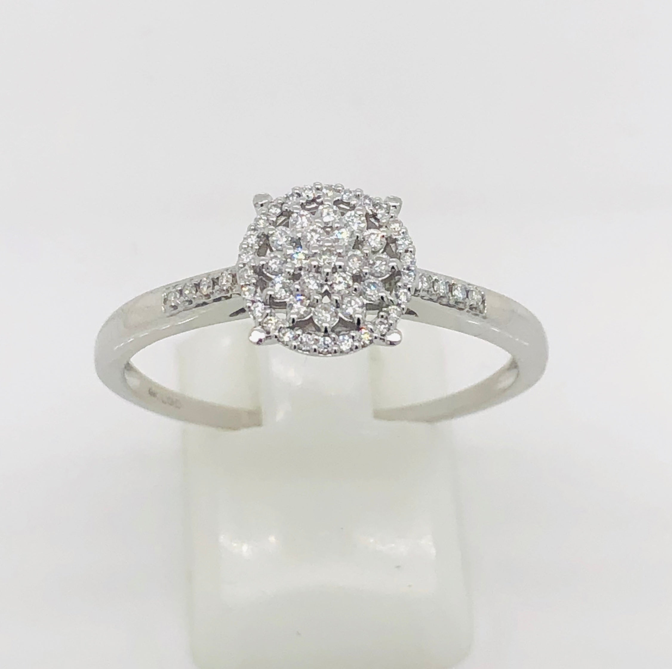 9ct White Gold Ladies Diamond Cluster Ring- TDW 0.25ct