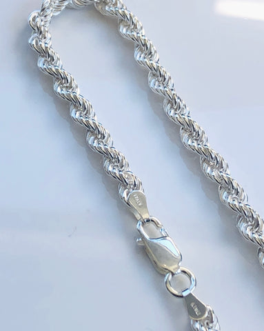 Sterling Silver Rope Chain Bracelet With Parrot Clasp 19cm