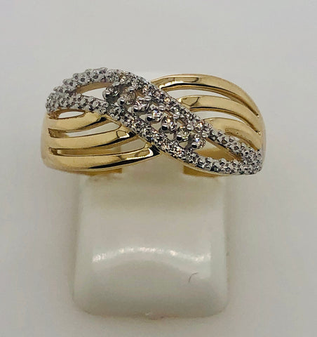 9ct Yellow Gold 0.15ct Diamond Crossover Ring