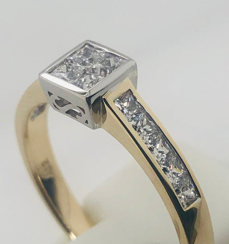 9ct Yellow Gold Princess Cut CZ Cluster Engagement Ring