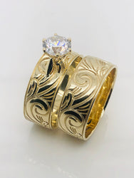 9ct Gold Ladies 2 Piece Set Ring 005