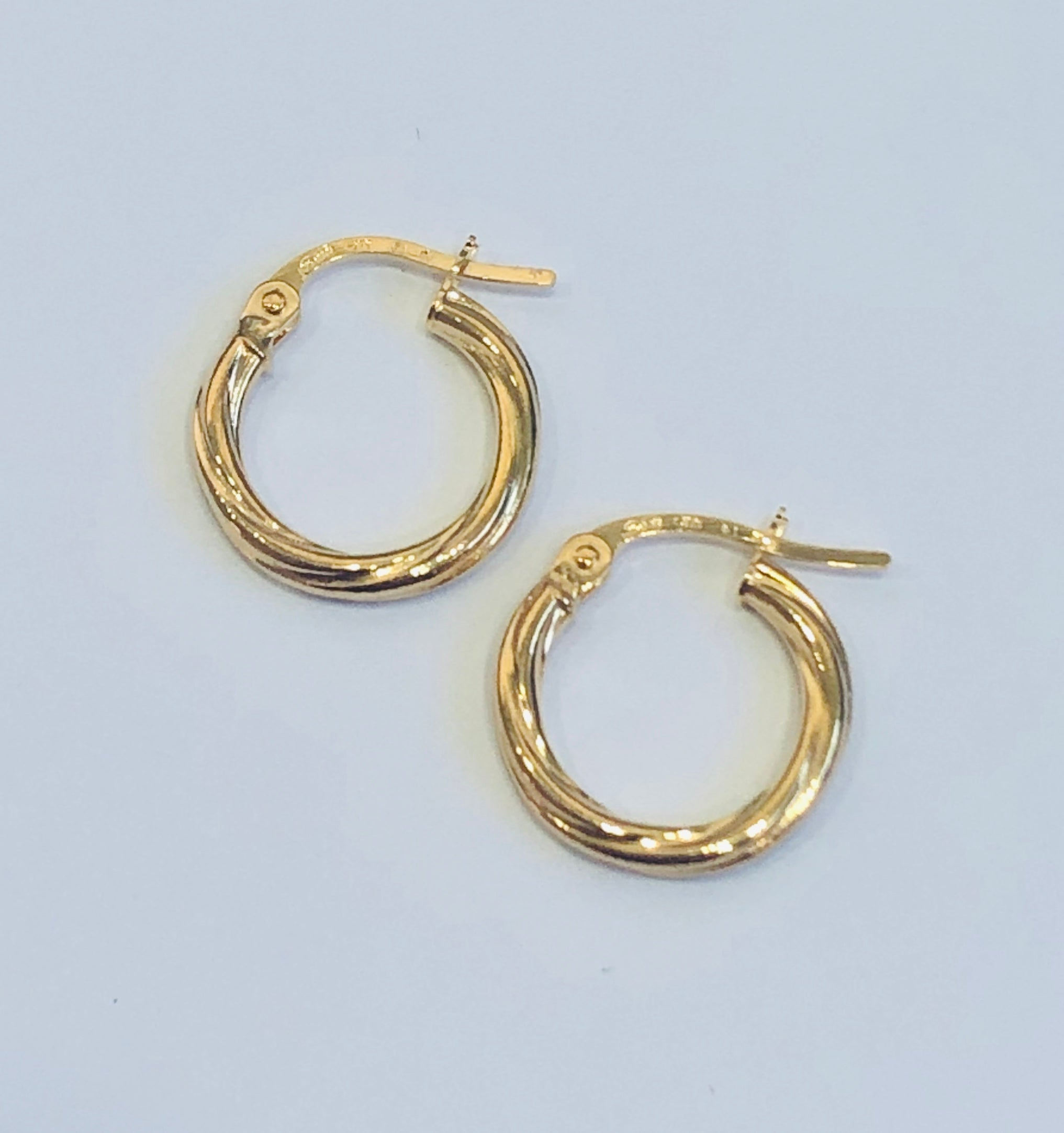 9ct Gold Twist Tube Hoop Earrings 10mm x 2mm - 003