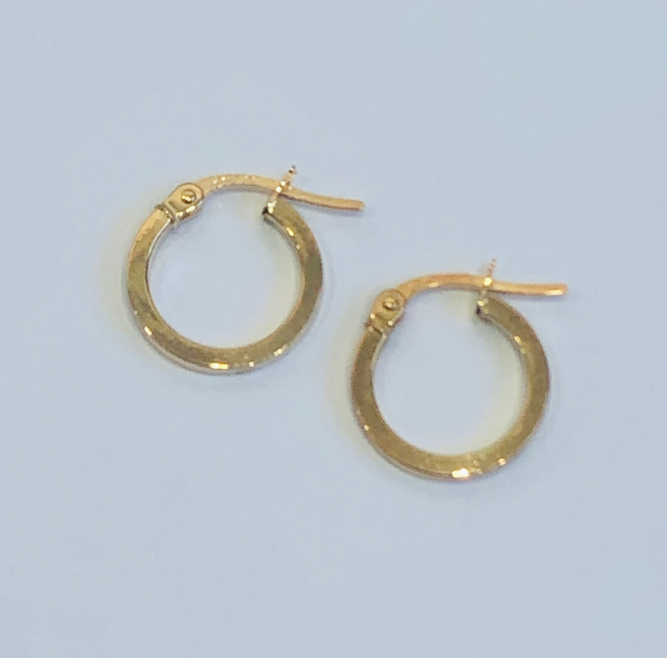 9ct Gold Square Wire Polished Hoop Earrings 9mm x 1.5mm - 004