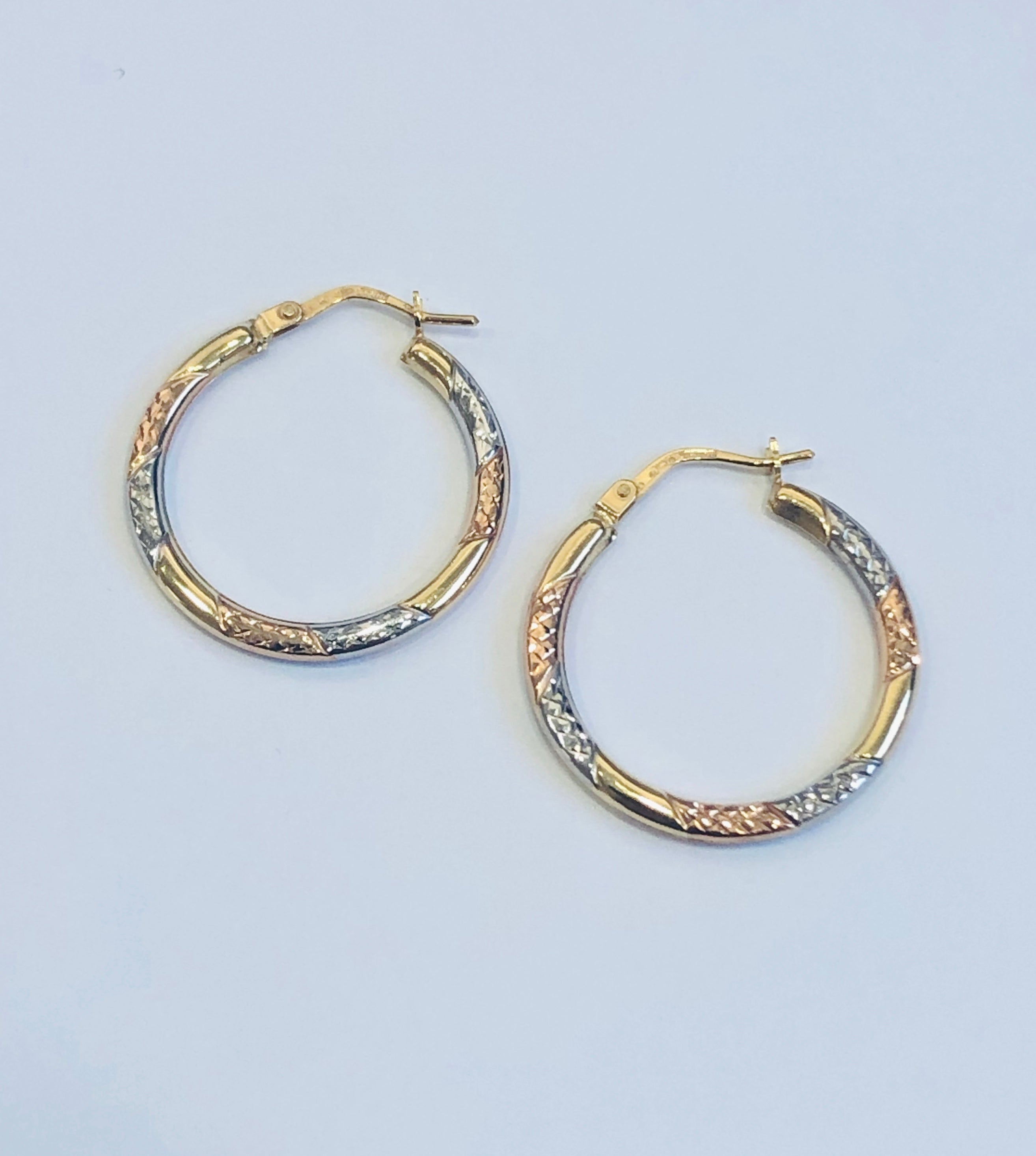 9ct Three Colour Gold Hoop Earrings 19mm x 2mm - 010