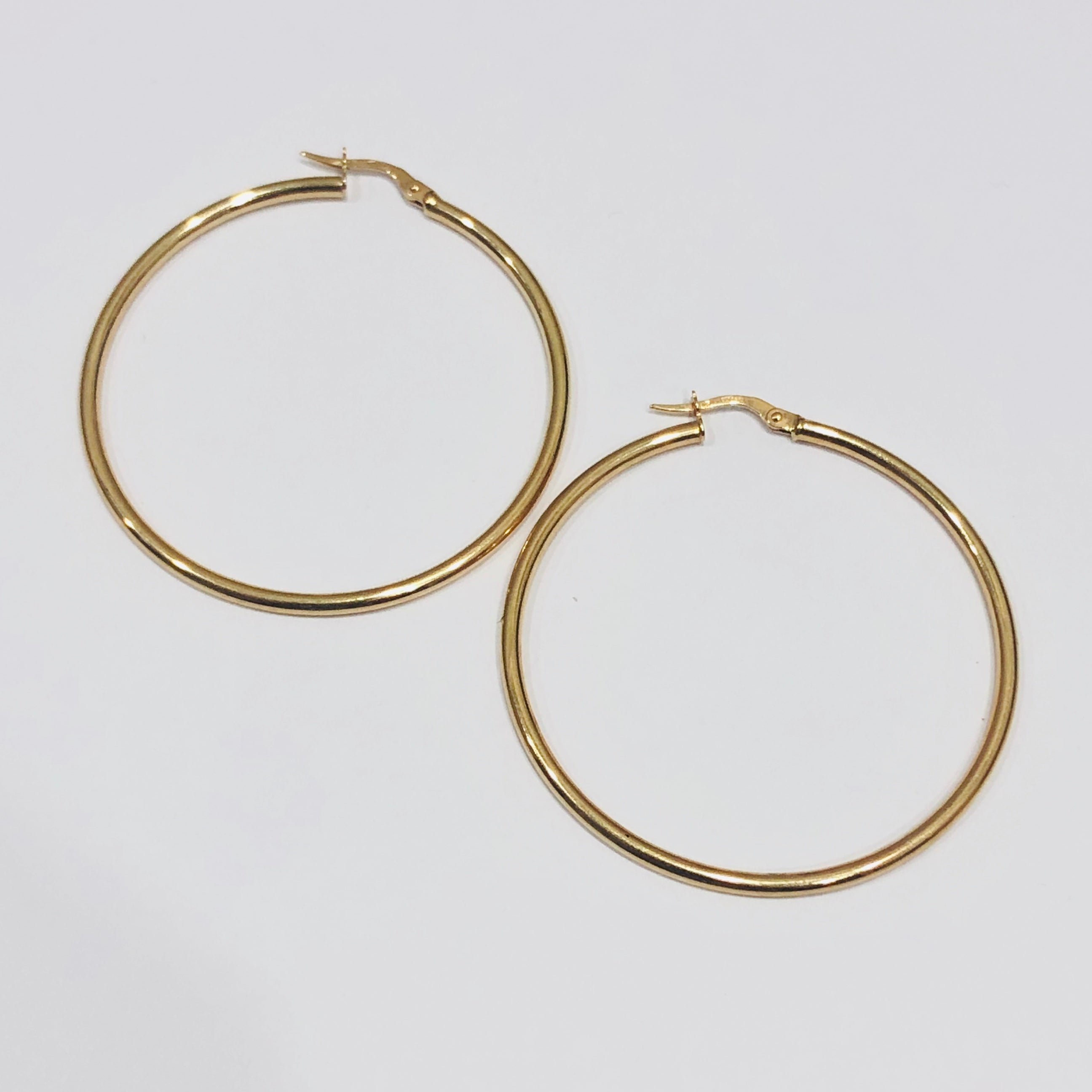 9ct Gold Hoop Earrings 41mm x 2mm - 012
