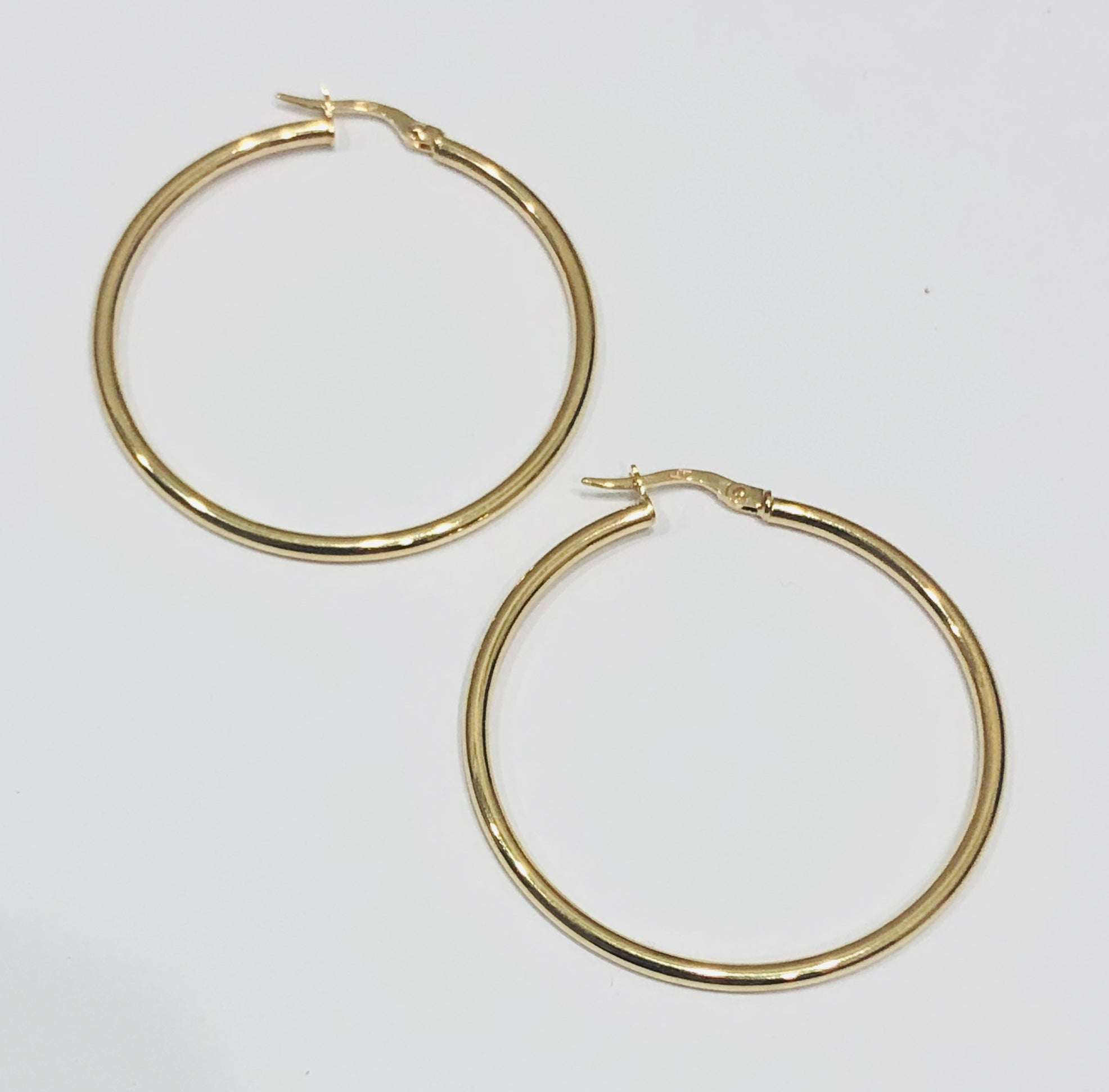 9ct Gold Hoop Earrings 35mm x 2mm - 015