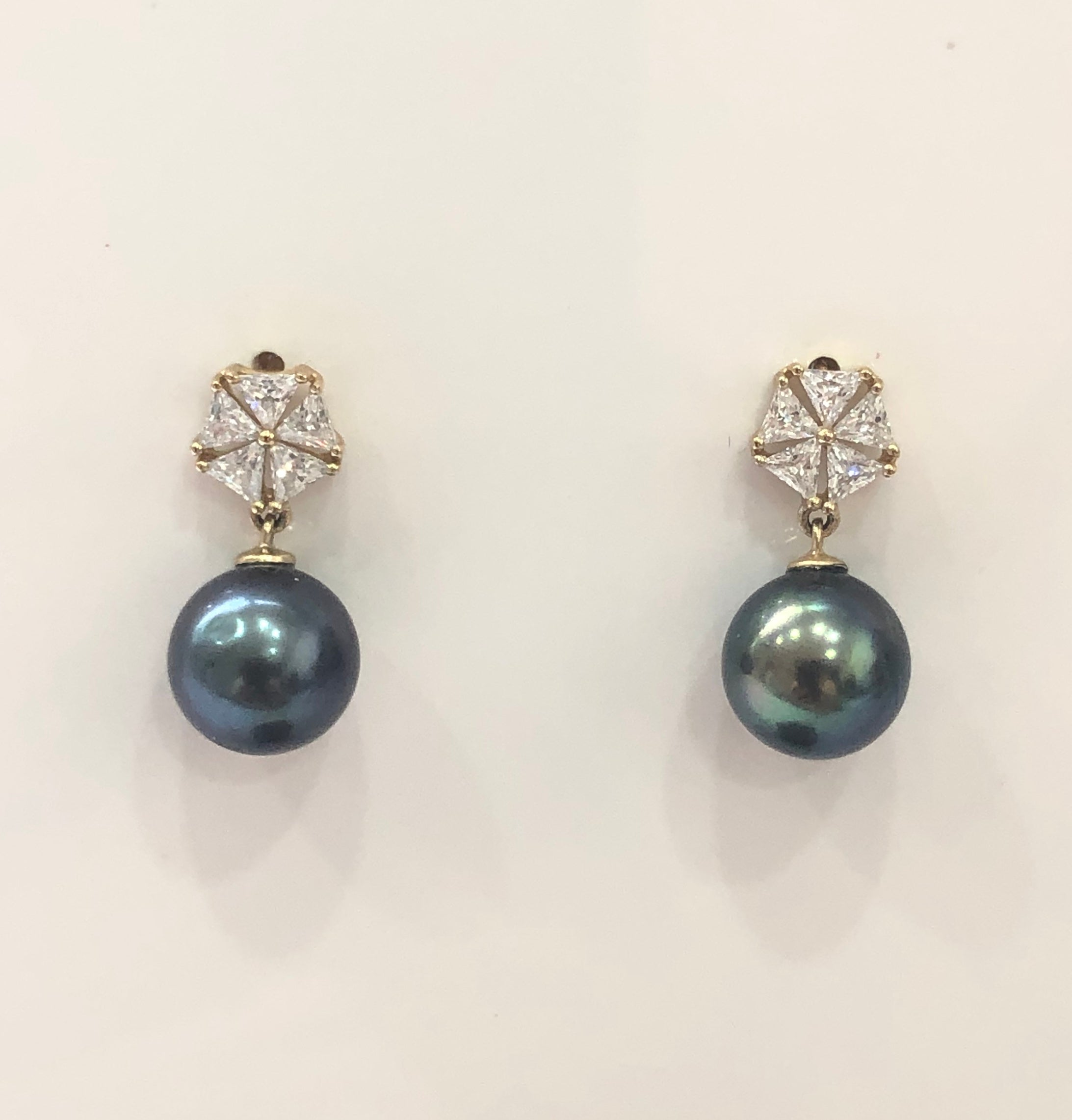 9ct Gold Drop Earrings With Black Tahitian Pearl -  05
