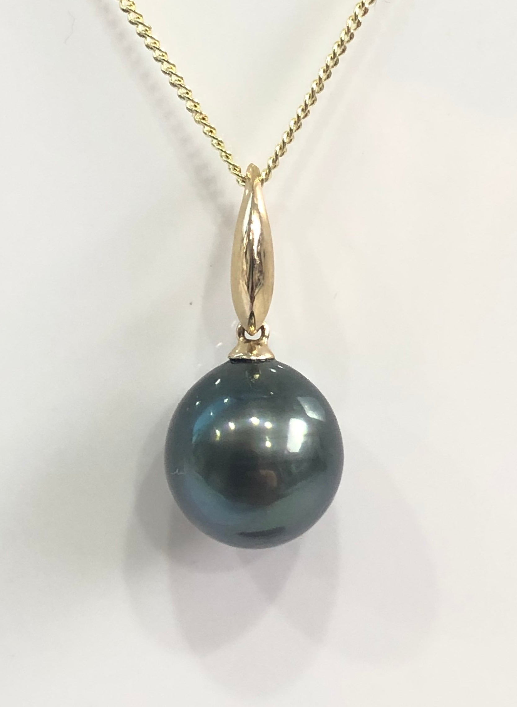 9ct Gold Pearl Pendant With A Tahitian Black Pearl - 12