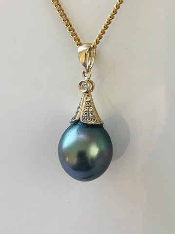 9ct Gold Pendant With A Teardrop Tahitian Black Pearl - 23