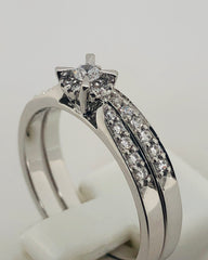 9ct White Gold Ladies 2 Piece Wedding Set Ring 016