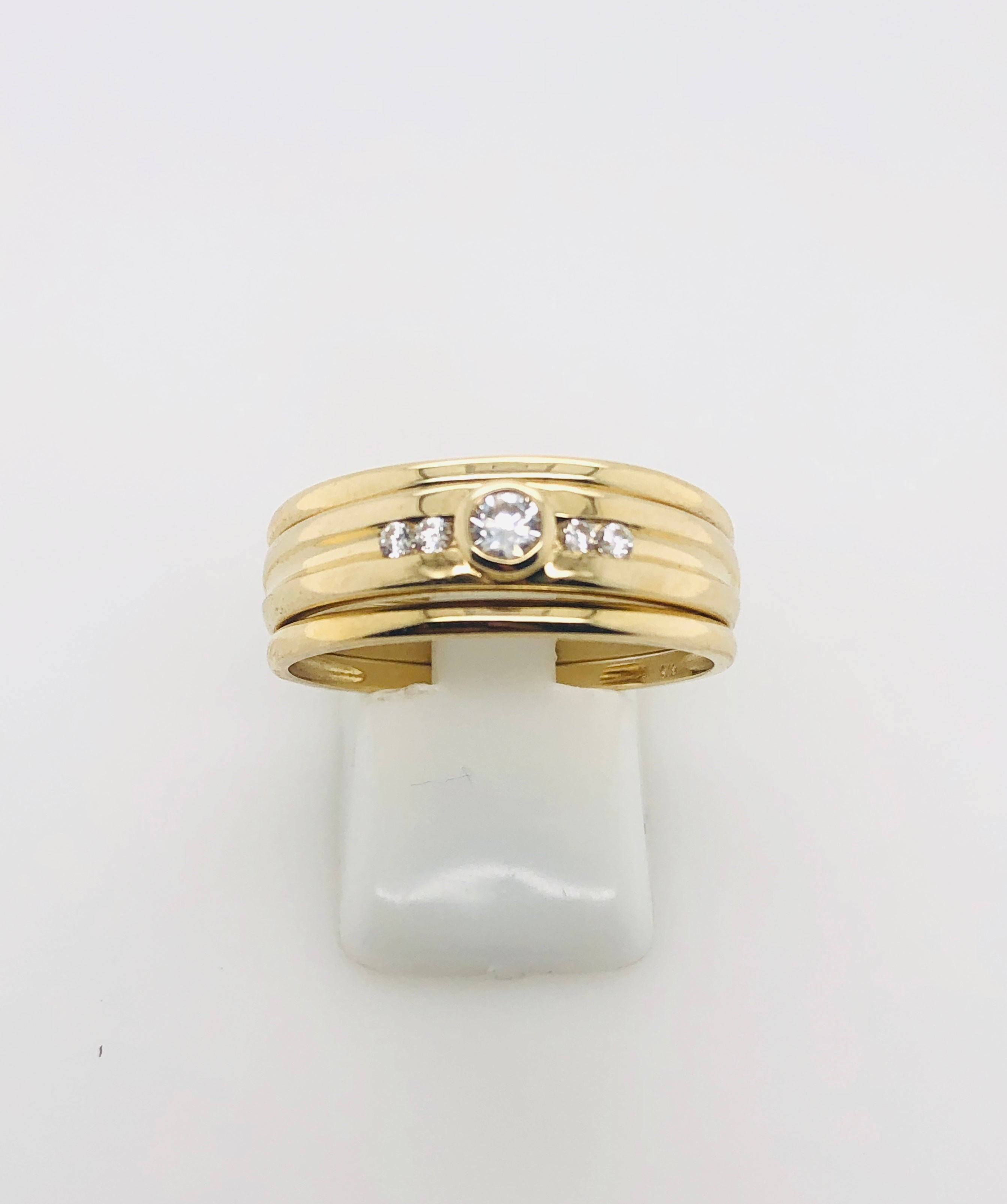 9ct Gold 3 Piece Set Ring With Cubic Zirconia