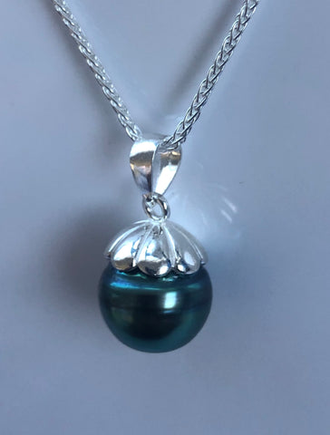 Sterling Silver Round Tahitian Pearl Pendant - 01