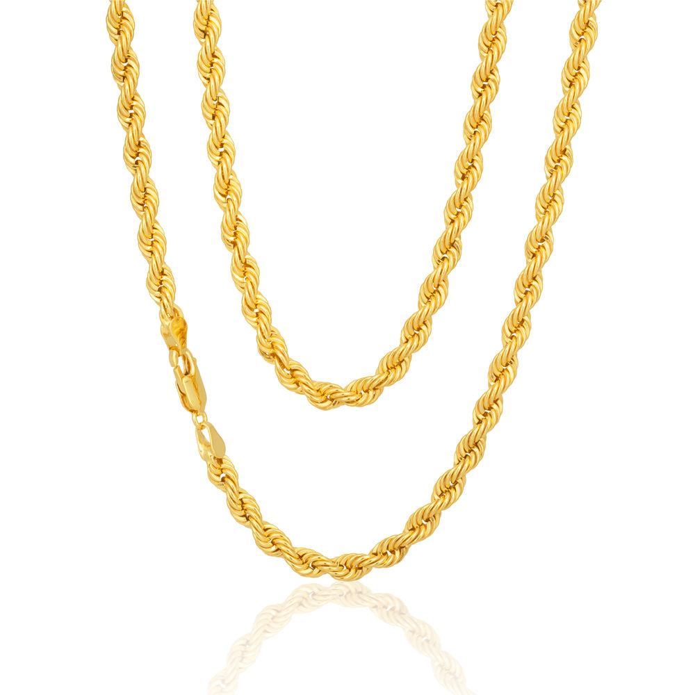 9ct Yellow Gold Classic Rope Chain - 80 Gauge