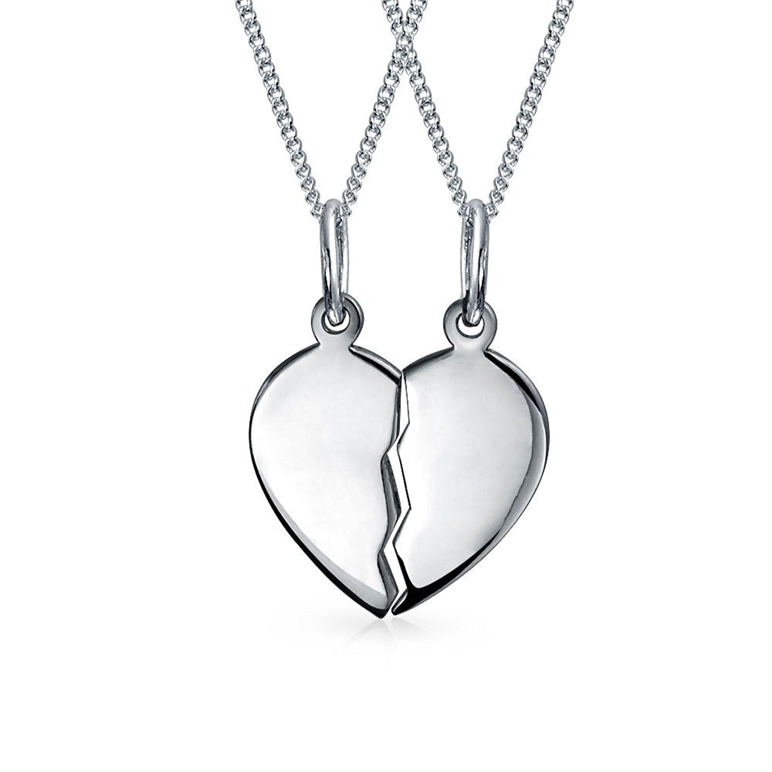 Sterling Silver Split Heart Pendant 27mm x 19mm - 017