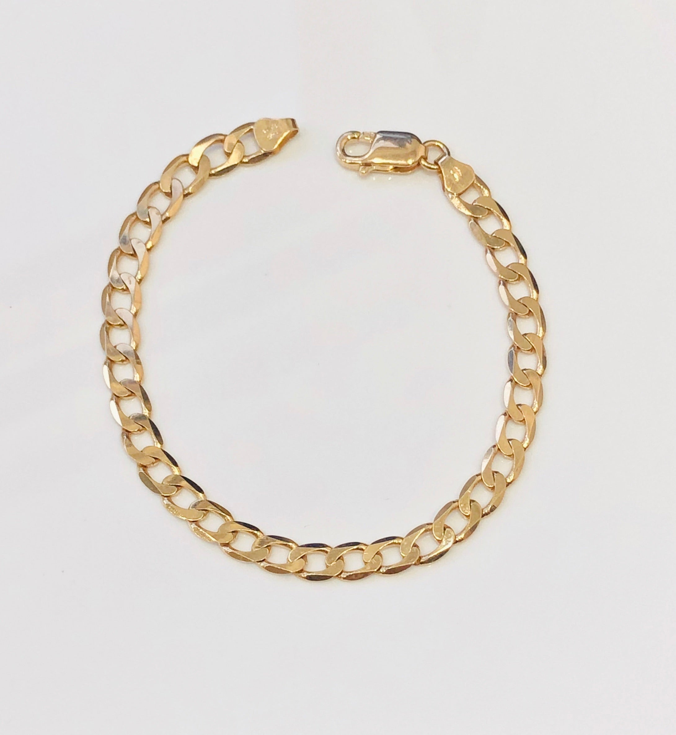 9ct Yellow Gold Open Curb 6 Sides Link Bracelet 19cm - 150 Gauge