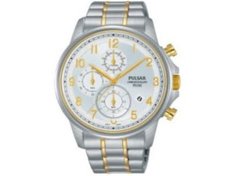 Pulsar Watch PM3069X - Chronograph - 50m W/R - Silver & Yellow Gold Strainless Steel Bracelet - Silver Face