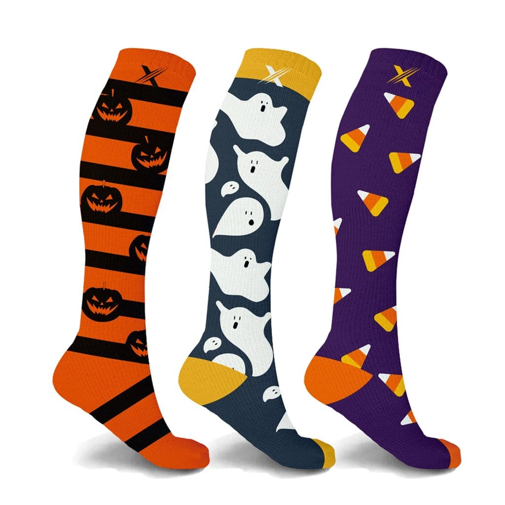 PUMPKIN, GHOST, CANDYCORN COMPRESSION SOCKS (3-PAIRS)