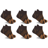 COPPER FLUX™ V-STRIPED ANKLE COMPRESSION SOCKS (6-PAIRS)