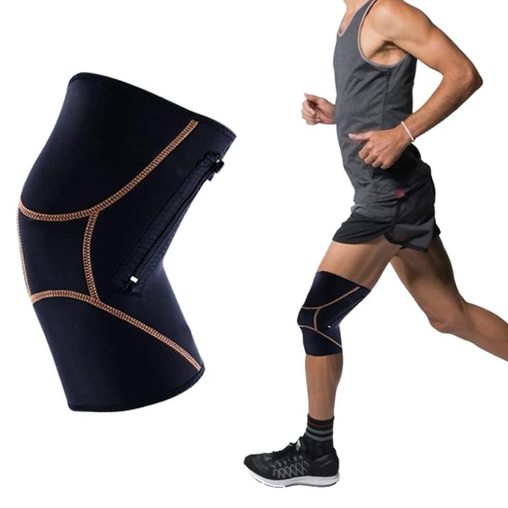Unisex Copper Infused Compression Knee Sleeve with Zipper