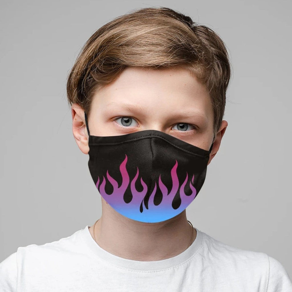 Kid's Flames & Camo Set of 3 Face Masks