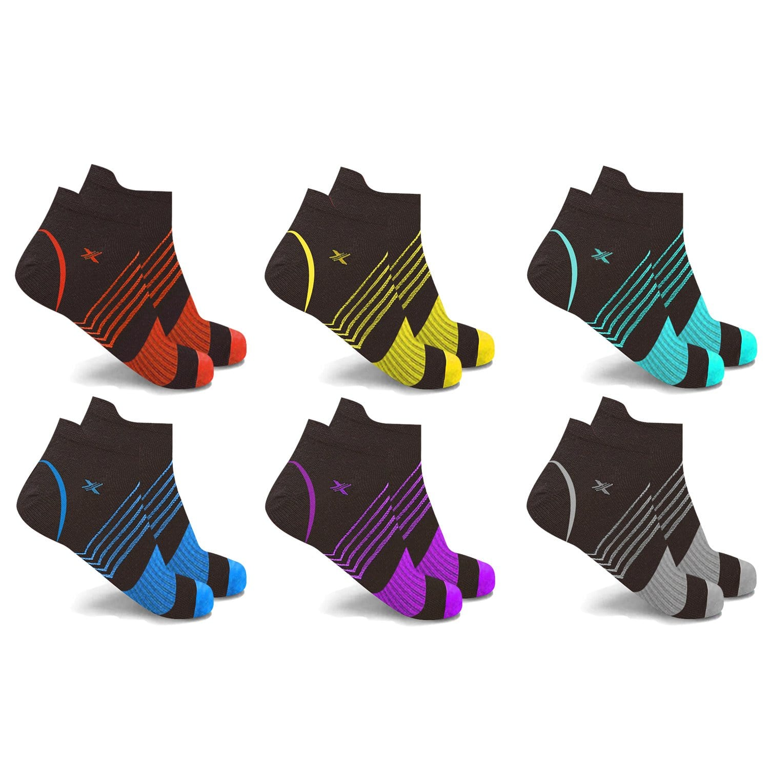 ULTRA V-STRIPED COMPRESSION SOCKS (6-PAIRS)