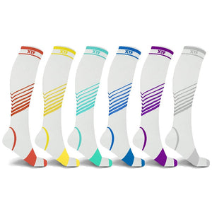 Ultra V-Striped White Edition Knee-High Compression Socks (6-Pairs)