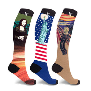 PRINTED COMPRESSION SOCKS (3-PAIRS)