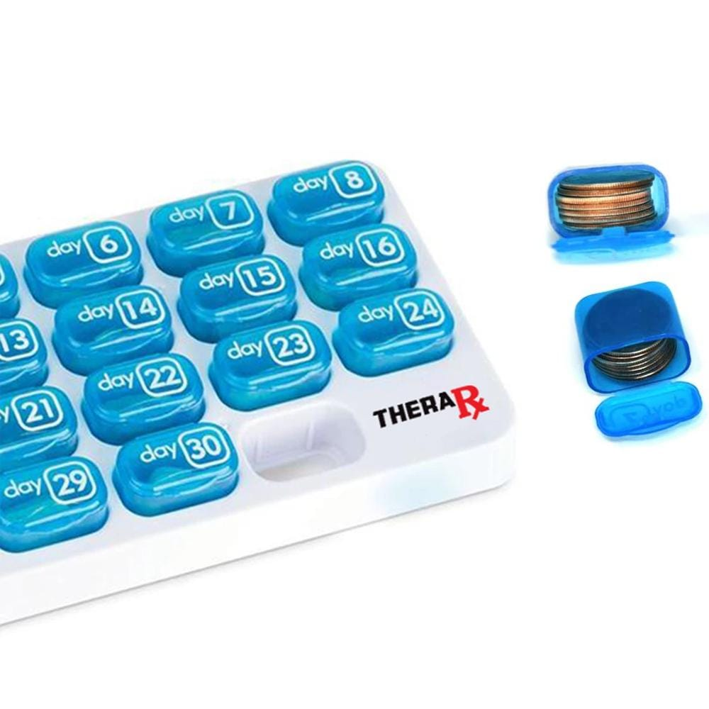 TheraRx 31-Day Monthly Pill Organizer - Large, Removable Compartments