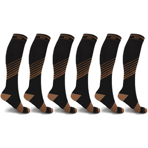 ULTRA V-STRIPED COPPER-INFUSED COMPRESSION SOCKS